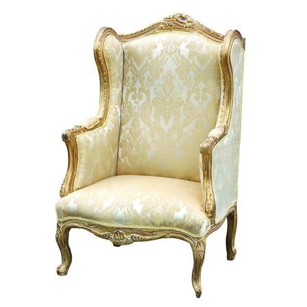 Gentil French Cream And Gold Damask Wingback Chair