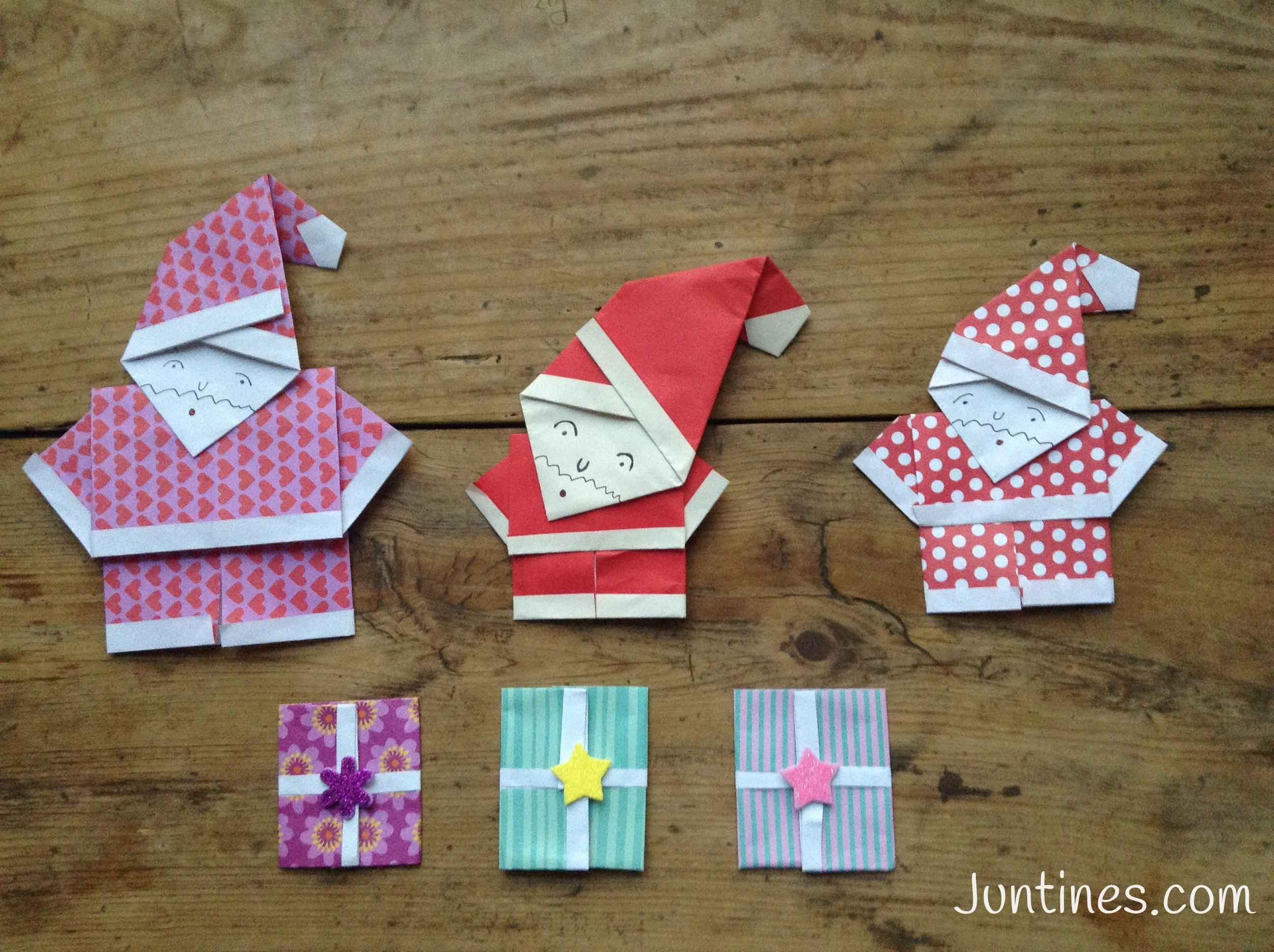 Papa Noel De Origami Facil Para Ninos Navidades Juntines - Origami-papa-noel