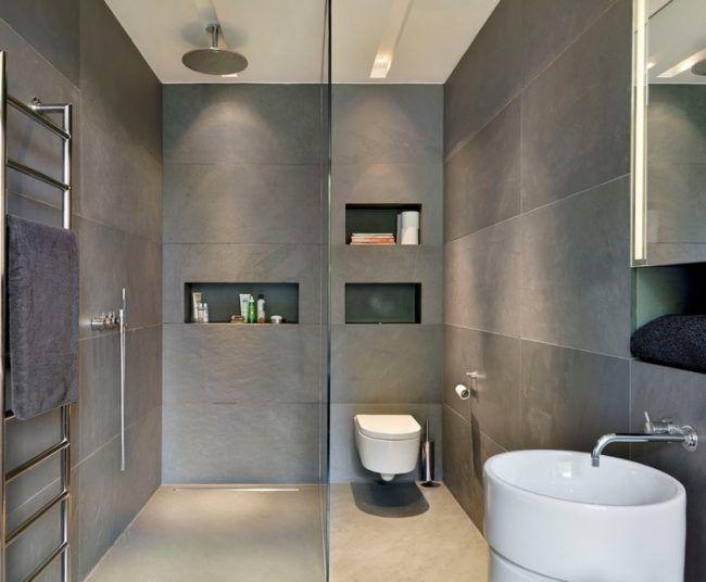 Ebenerdige Dusche Regendusche Grau Waschkonsole Weiss Klo Glaswand Badezimmer Fliesen Bad Neu Gestalten Badezimmer
