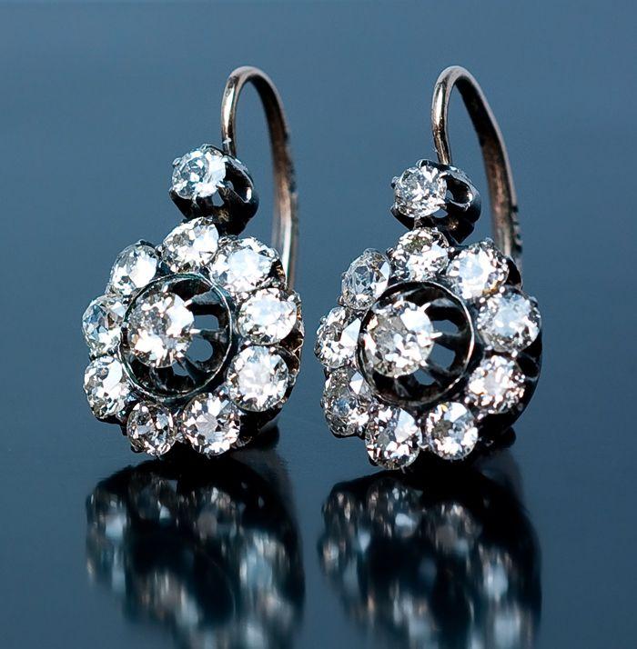 Antique Diamond Jewelry Russian Imperial Era Cluster ...