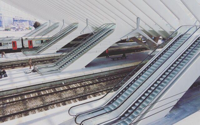 De verschillende herhalingen die in het ontwerp zitten, bepalen het beeld in Gare de Liège-Guillemins