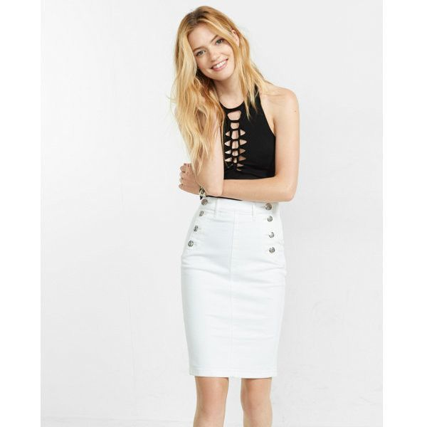 b109c9c7c Express White High Waisted Sailor Pencil Skirt ($60) ❤ liked on Polyvore  featuring skirts