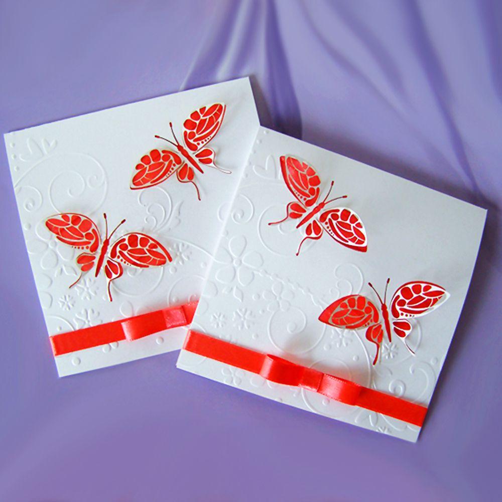 Сватбена покана - ажурно изрязана пеперуда с монограм на ...