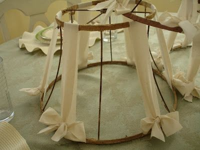 This would be so cute in a baby girl nursery. Tie ribbon all around the shade in shades of pink. Combine ribbon and strips of fabric.