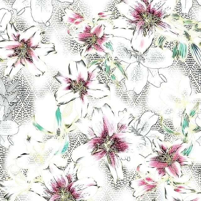 Vintage Flower Wallpaper Lilies On White With Pop Colors Pink Floral Tumblr