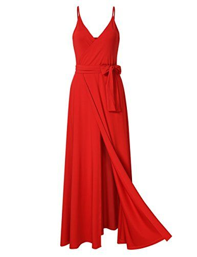 8c2878a07fddc GlorySunshine Women Wrap V-neck Strap Sleeveless Split Side Evening Dress  Long Evening Gown
