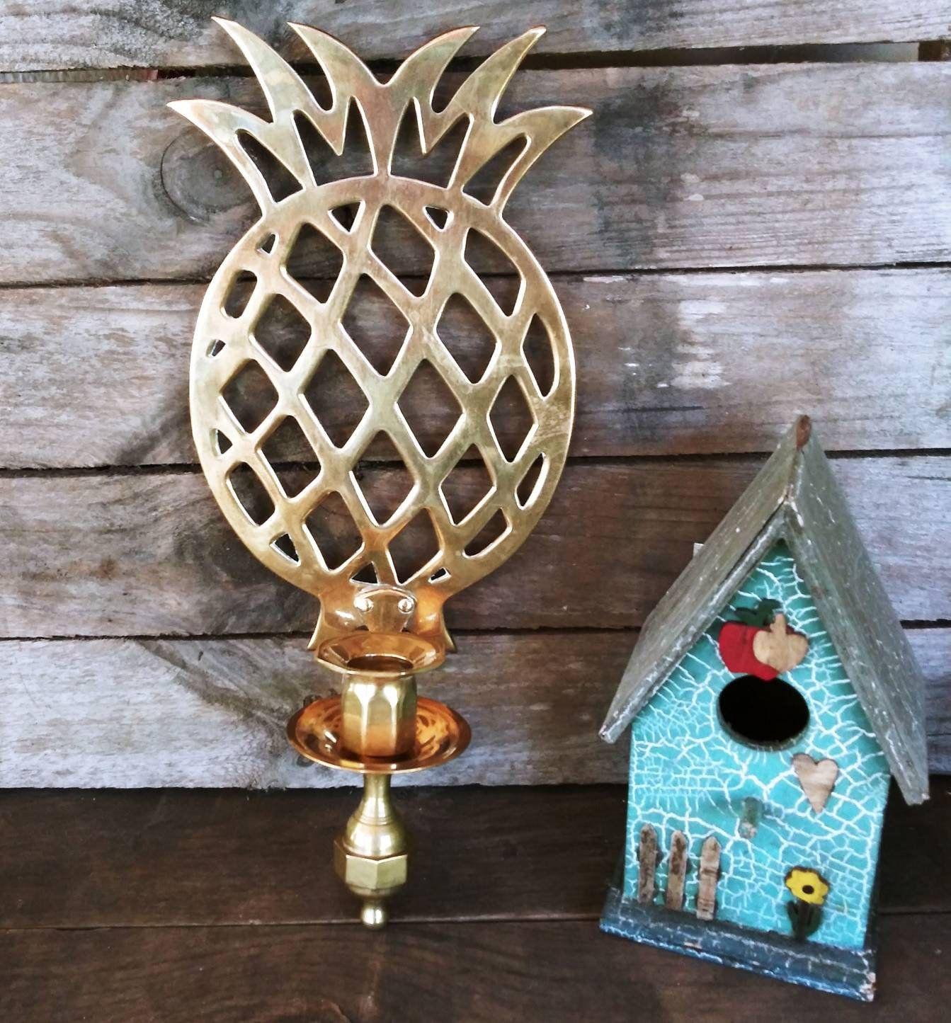 Vintage Retro Brass Pineapple Wall Sconce candle holder ... on Vintage Wall Sconce Candle Holder Decorating Ideas id=51877