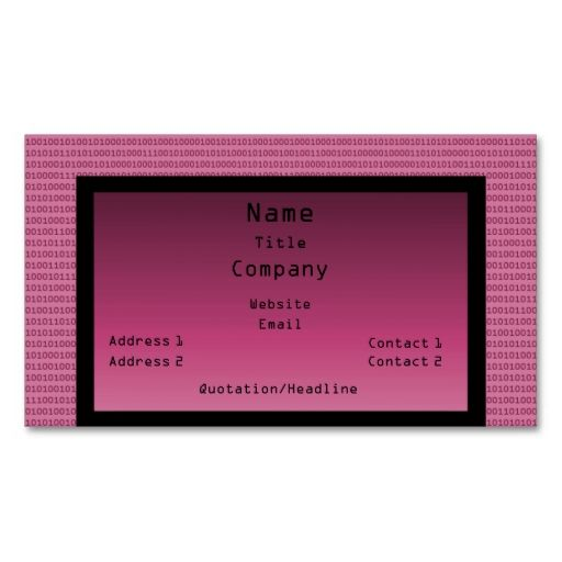 Binary code business card pink make your own business card with binary code business card pink make your own business card with this great design colourmoves