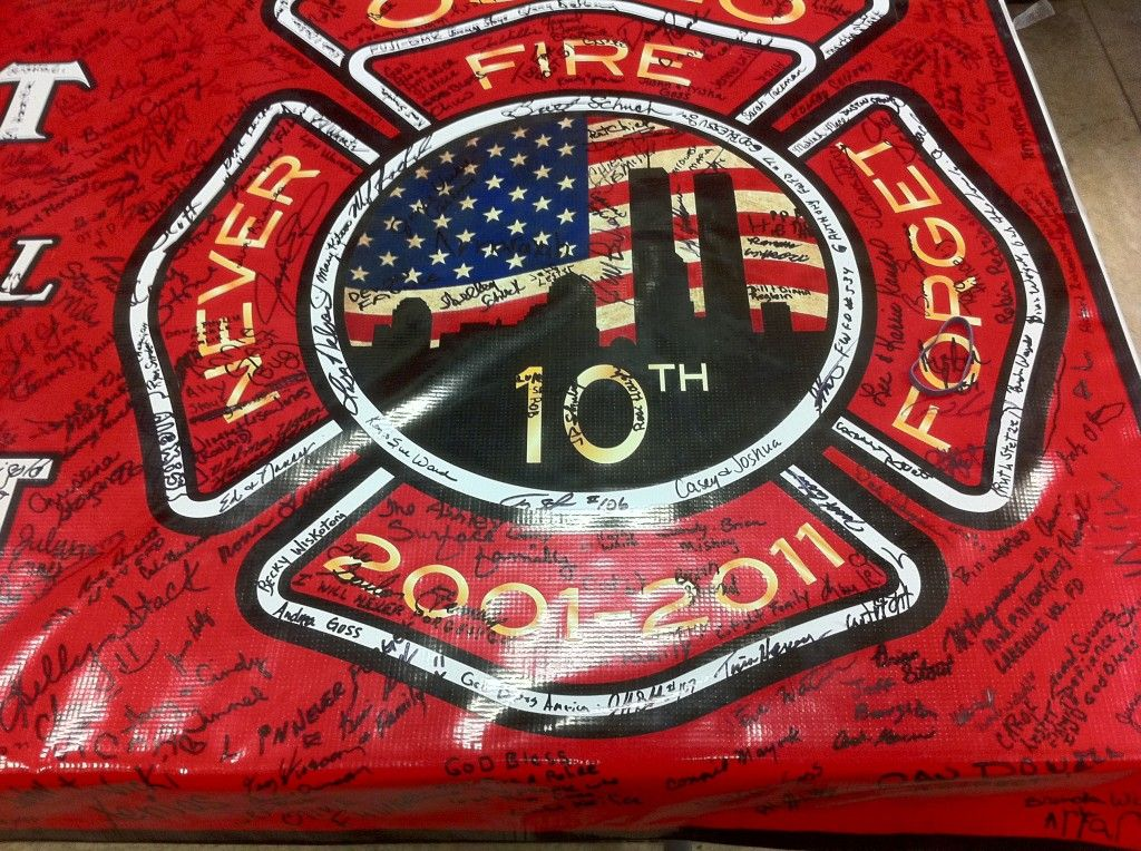 9/11 beam at dracut fire station | Osolo Fire Project 9/11 Logo