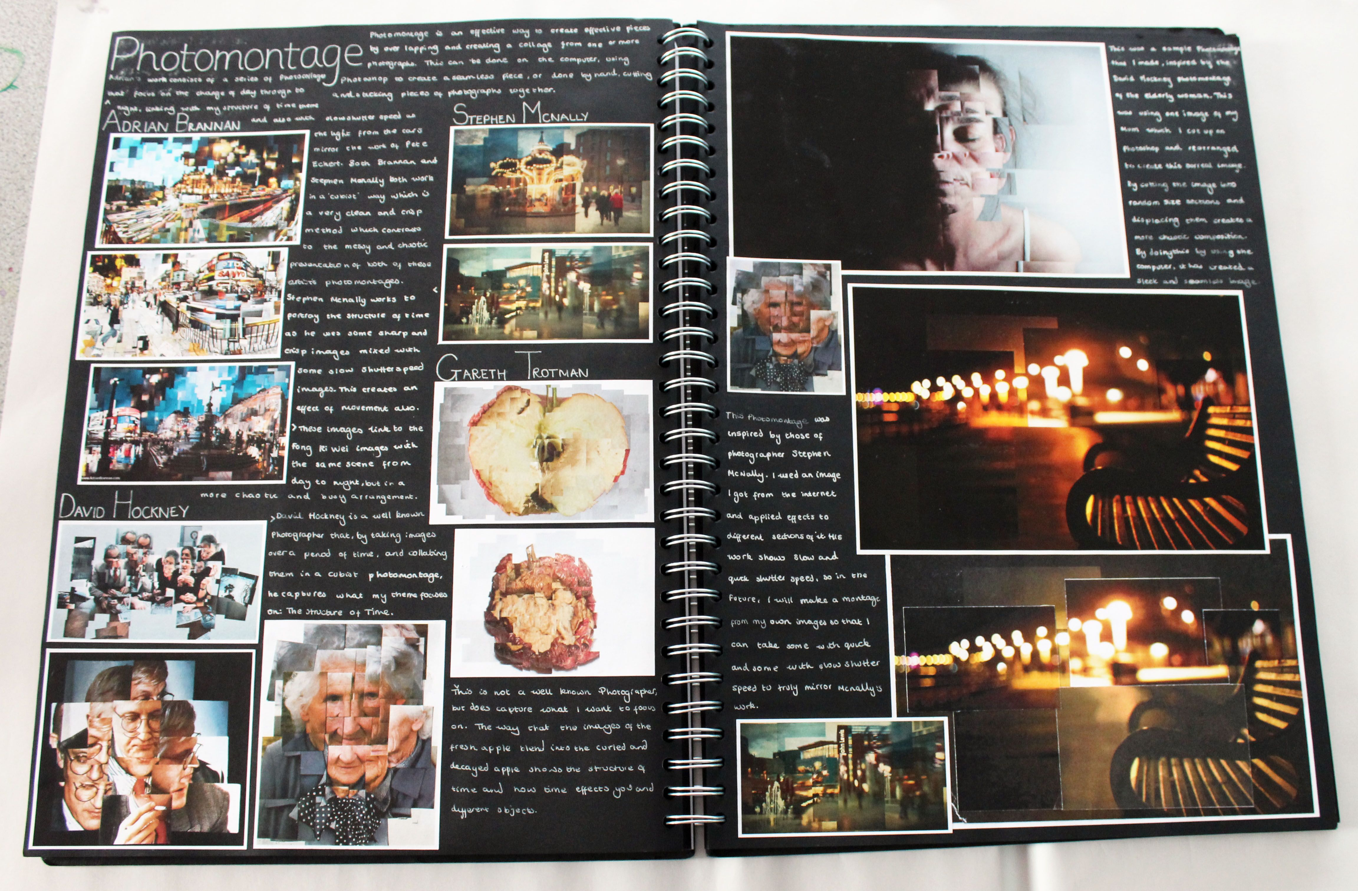 AL Photography, A3 Black Sketchbook, Montage work, CSWK 'Structures', Thomas Rotherham College, 2015-16