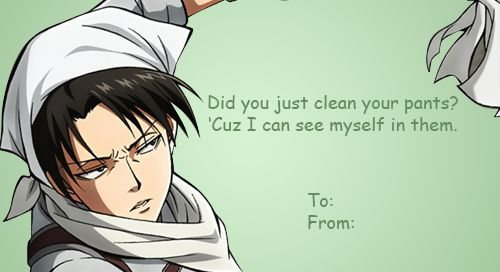 Attack on Titan Valentines Levi anime  Anime Valentines Cards