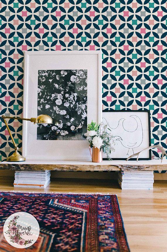 Pastel Retro removable wallpaper, Simple wall mural, Scandinavian wall decor, Peel and stick, Remova