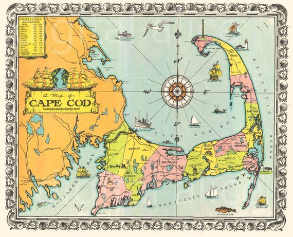 photo relating to Printable Map of Cape Cod identified as Outdated CAPE COD MAP down load- Vibrant 1939 Cape Cod M