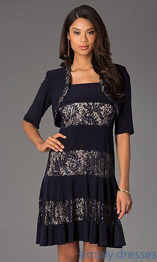 Short Sleeveless Lace Embellished Dress with Matching Bolero at SimplyDresses.com