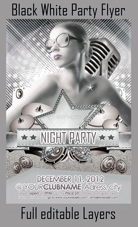 Black & White Party Flyer | Black White Parties, Party Flyer And