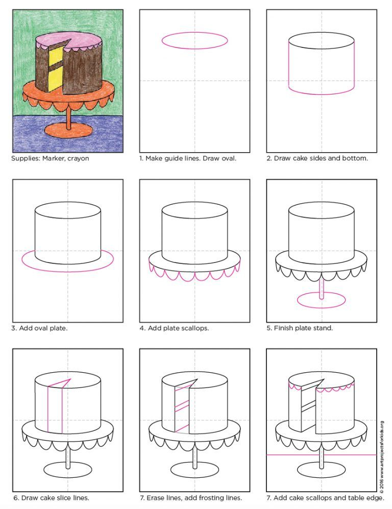 How to Draw a Cake · Art Projects for Kids | Art handouts, Elementary art projects, Kids art projects