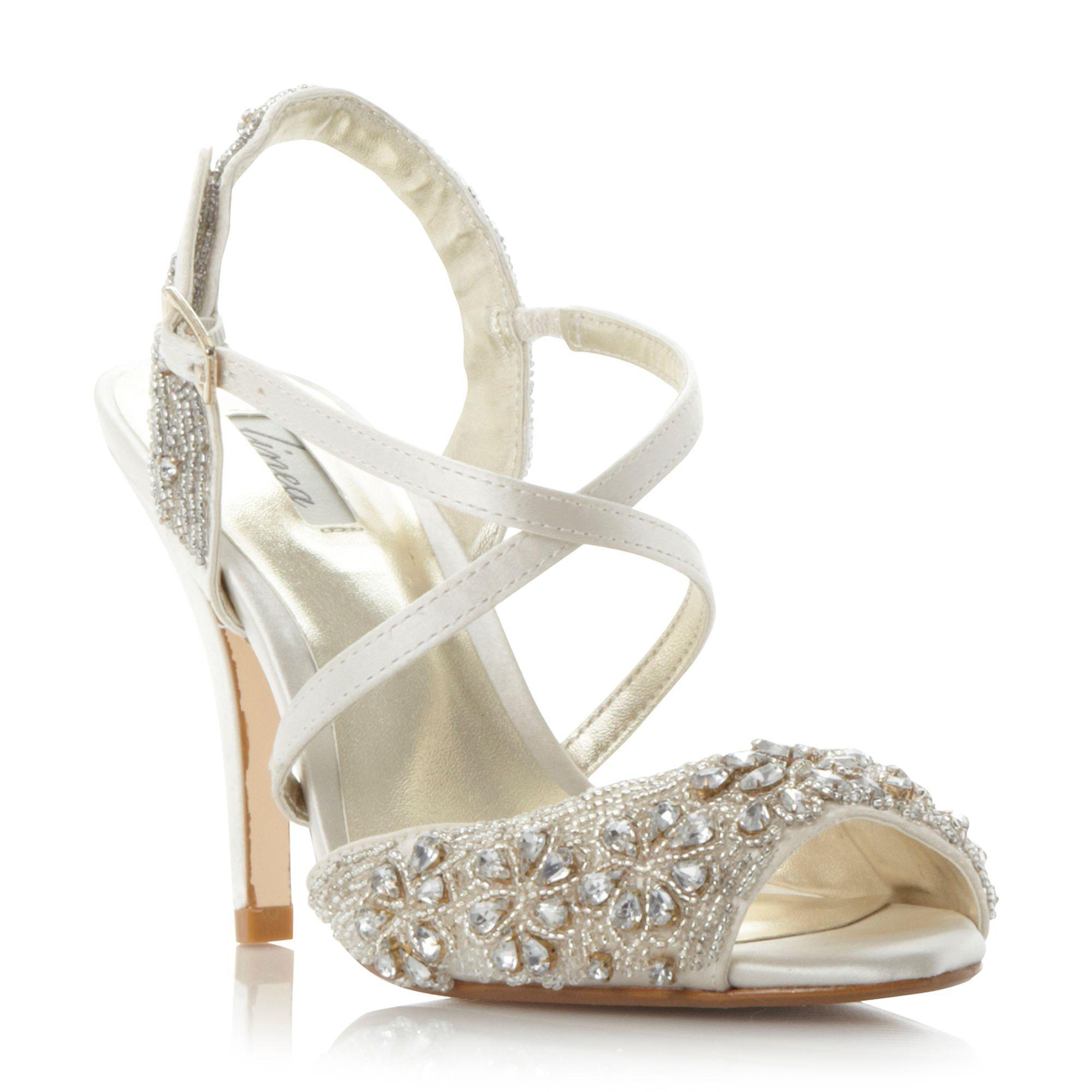 Linea Molana embellished cross strap high heel sandals, Ivory