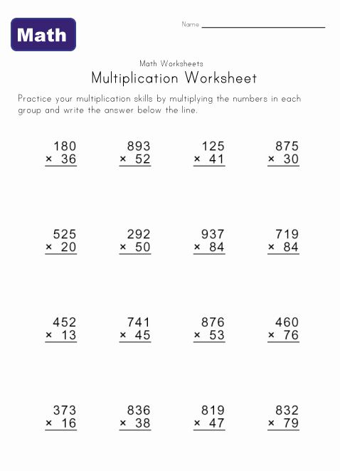 Multiple Digit Multiplication Worksheets 8th grade math