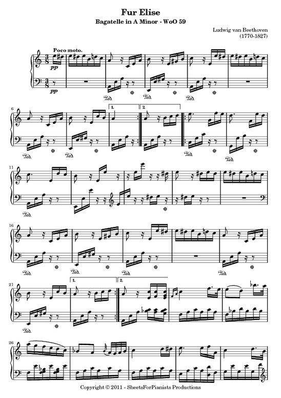 Fur Elise Sheet Music Piano Full Song Fur Elise Woo59