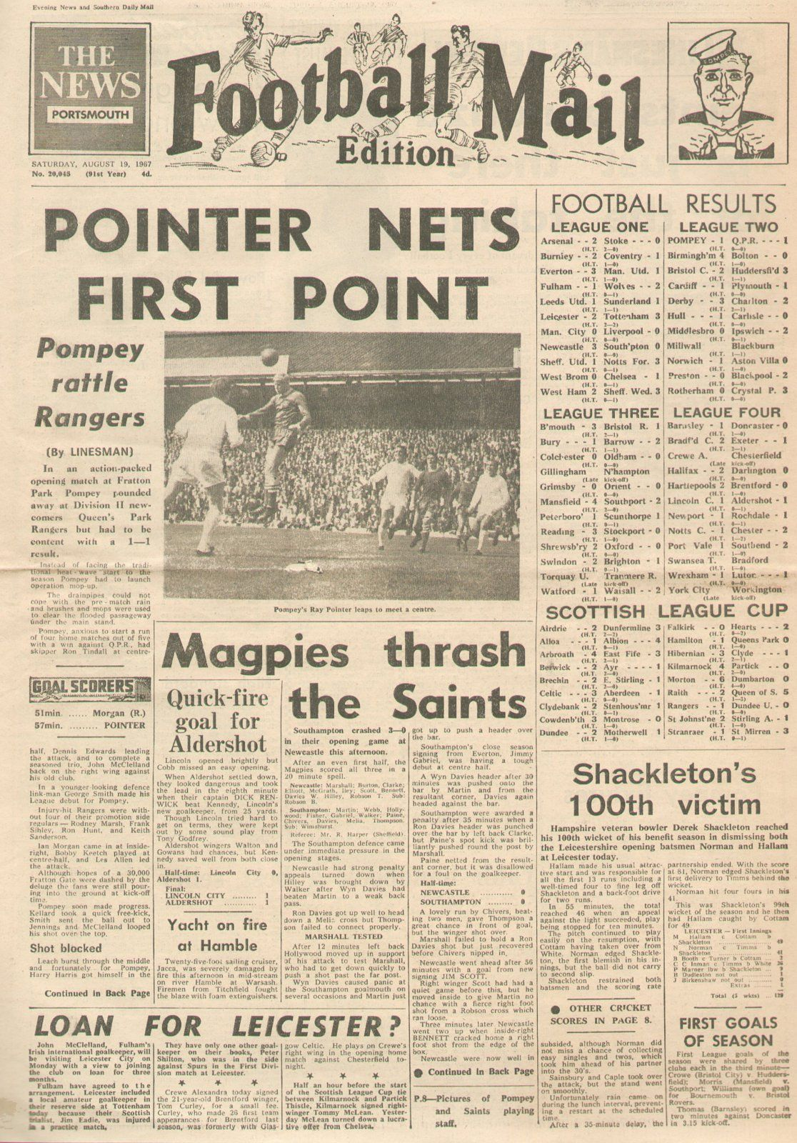 Portsmouth  Qpr  In Aug  At Fratton Park Newspaper Report