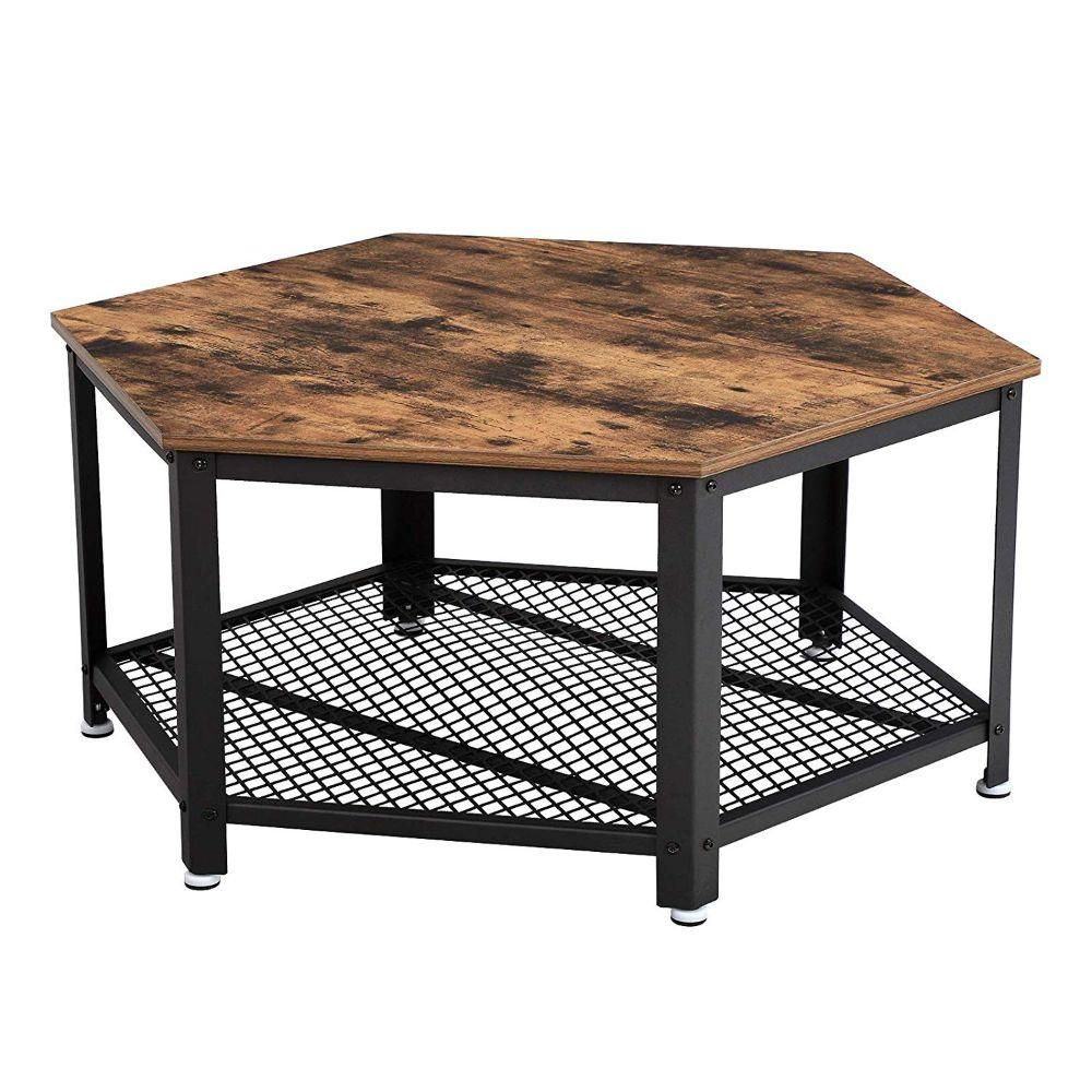 Benjara Brown And Black Iron Framed Coffee Table With Wooden Top