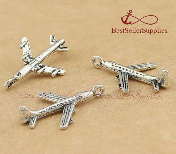 50 PCs Plane Charm Plane Pendant Airplane by BestSellerSupplies