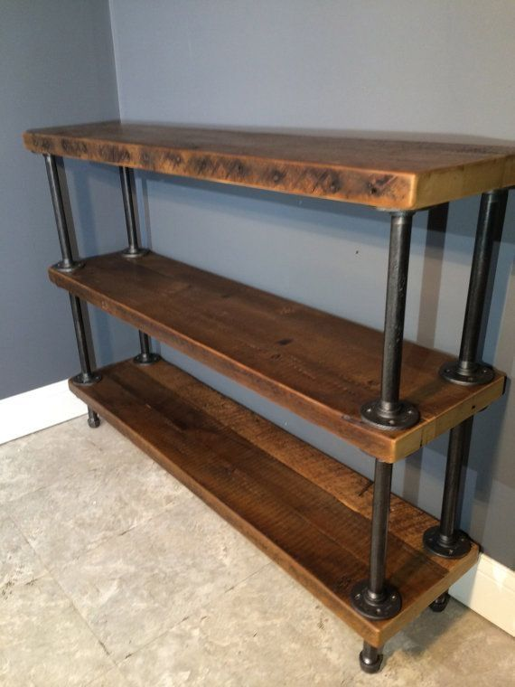 Entryway Reclaimed Wood Shelf Shelving Unit With 3