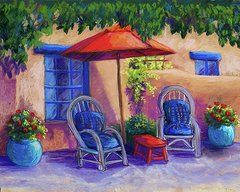 New Mexico Art - Josefinas Courtyard  by Candy Mayer