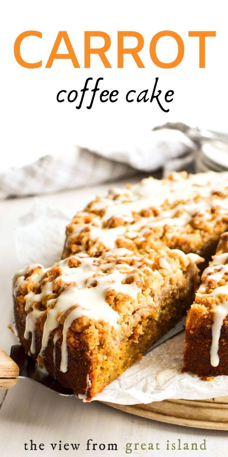 Carrot Coffee Cake with Cream Cheese Glaze ~ it's not just an excuse to eat carrot cake for breakfast (ok maybe it is) it's also a fresh take on a classic! #easy #recipe #coffeecake #breakfast #breakfastcake #carrot #cake #streusel #glazed #moist #best #fromscratch
