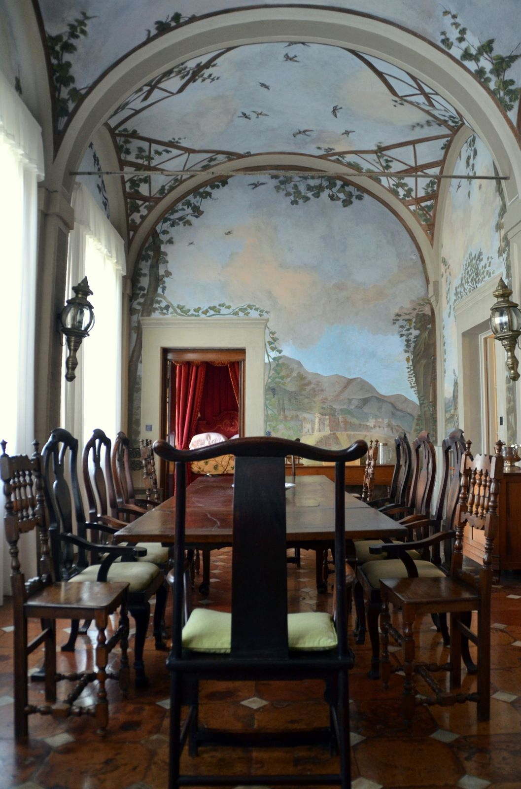 Wall Mural In Italian Dining Room