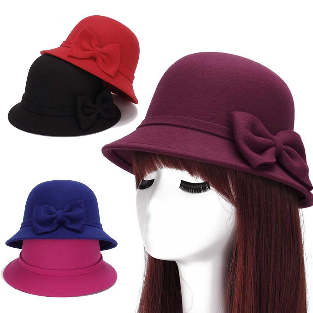 37d25d605d7 Women s Wide Brim Wool Felt Bowknot English Hat