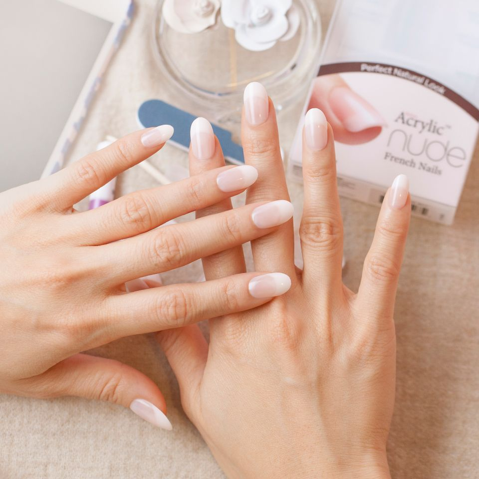 Pin On Salon Acrylic Nude French Nails