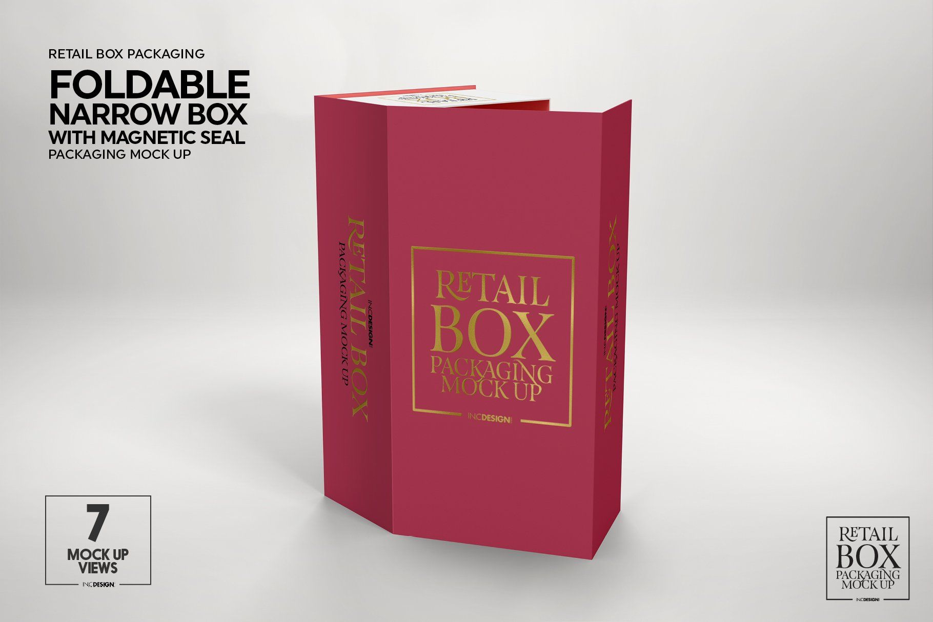 Foldable Box Magnetic Seal Mockup ,
