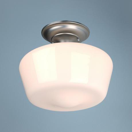 "Schoolhouse Brushed Steel 12"" Wide Ceiling Light Fixture   $49.99"