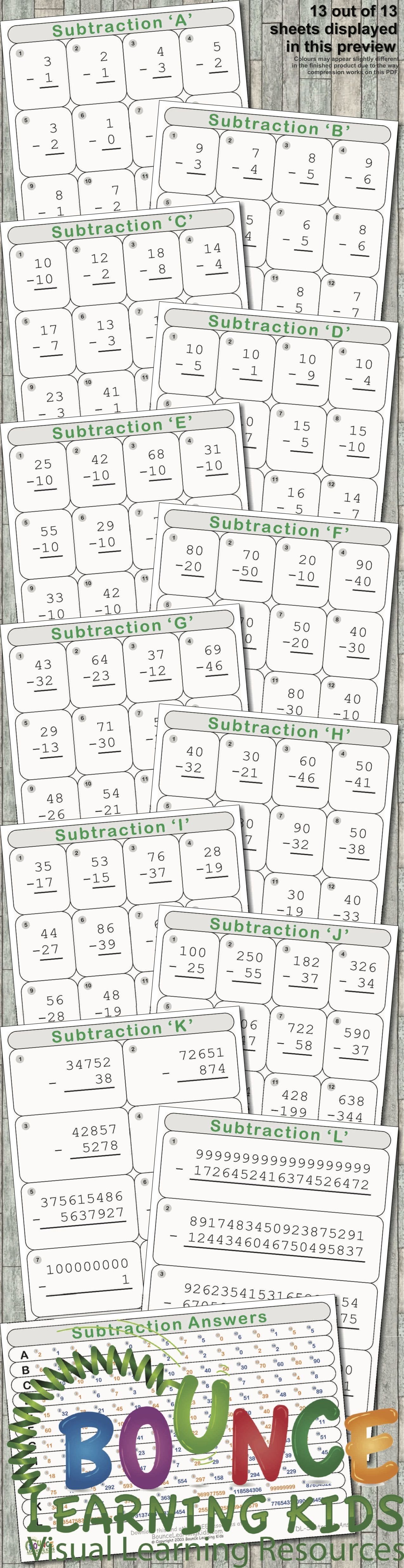 Subtraction 13 Distance Learning Numeracy Sheets