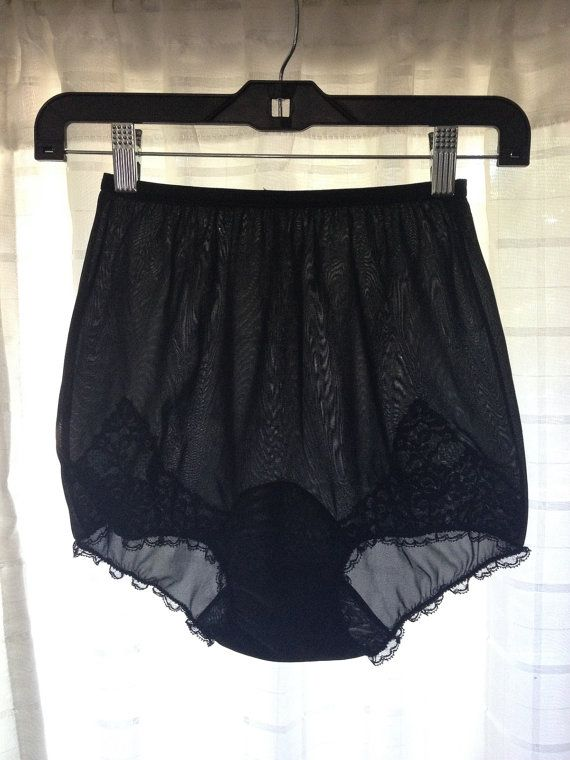 4490a3bf354 1950 s Vintage Rogers Black Nylon   Lace Ruffle by StrangeVintage ...