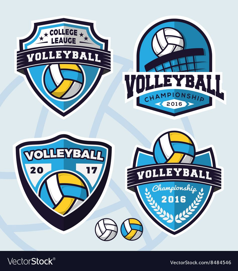 Set Of Volleyball Logo Template Design Royalty Free Vector Ad Logo Template Set Volleyball Ad In 2020 Sports Logo Sports Logo Design Logos