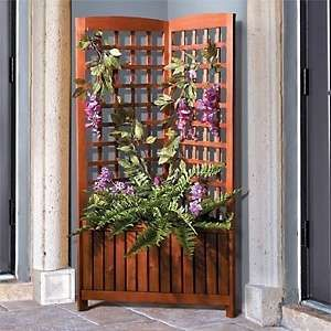 Add Life And Color To An Unused Corner Of Your Deck Or Patio With Our  Acacia Corner Garden Trellis With Planter Box.