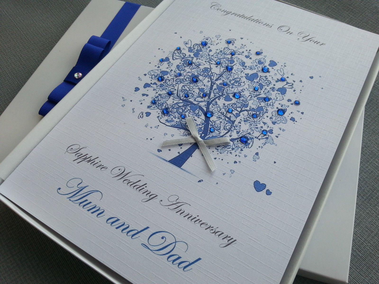 Sapphire 65th 45th Wedding Anniversary Card Handmade Personalised Box Envelope Anniversary Cards Handmade Wedding Anniversary Cards 45th Wedding Anniversary