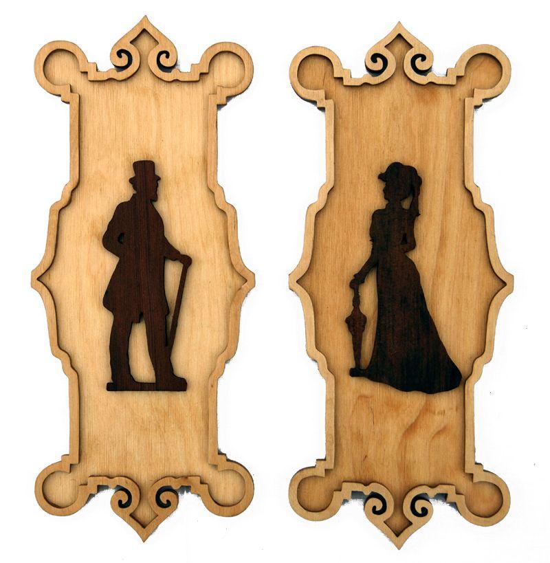 Victorian Restroom Sign Men Women Gents Ladies