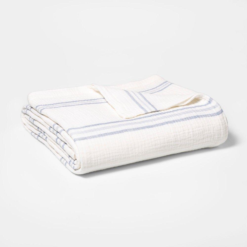Full Queen Striped Gauze Bed Blanket White Blue Threshold Bed Blanket White Blanket White King Blanket