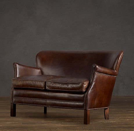 Professor S Leather Settee With Nailheads For The Home