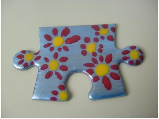 Puzzle Brooch- made of puzzle pieces and nail polish-easy