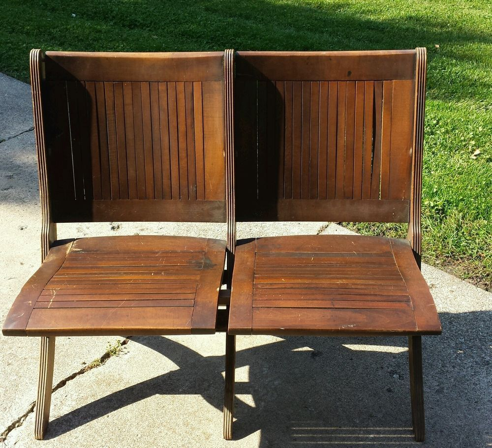 American Brown Original Antique Chairs | eBay - Antique Wooden Slat Double Folding Schoolhouse Theatre Chairs In
