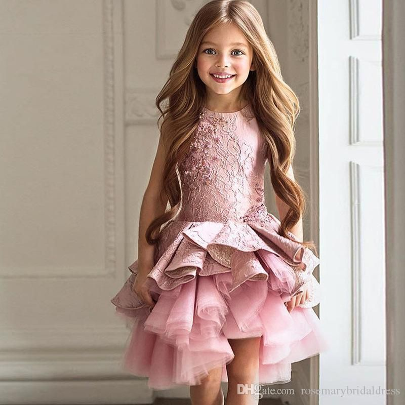 Purple Pink Lovely Flower Girl Dresses Princess Ruffles Lace Short Kids Formal  Dresses Children Dancing Gowns Real Photos Communion Dress Wedding Party ... 18e091a0ae54