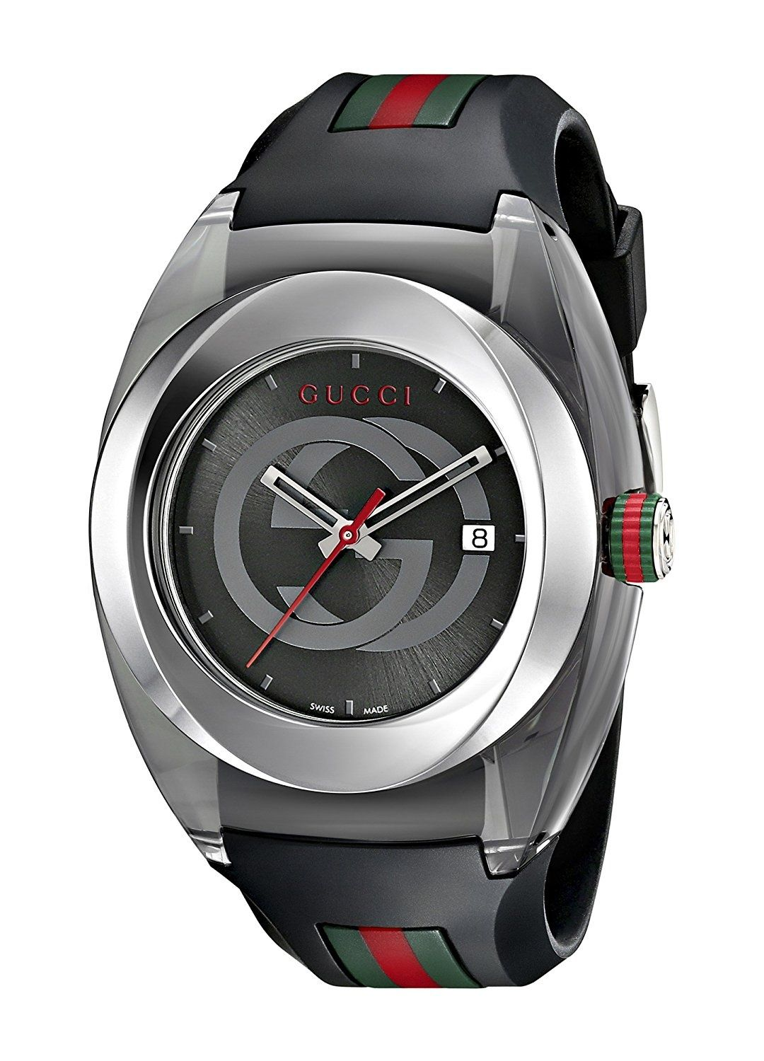 8f3f255f398 Gucci SYNC L Stainless Steel Watch with Black Rubber Band(Model YA137301)  Size ONE SIZE