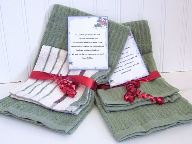 Give a hand towel and a washcloth with a bow and this great rhyme that I found online.  This Christmas you deserve the best...  ...a present unlike all the rest.  We considered a new car or exotic cruise,  but decided on something you could really use!  Finally we found a gift to admire,  we hope you like your new washer and dryer!  Happy Holidays!