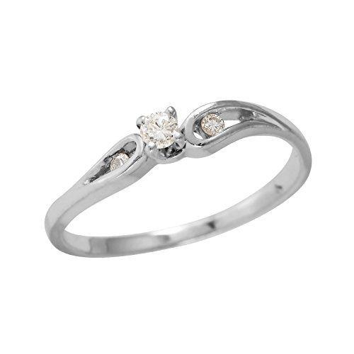 Engagement Rings Sale Price: 0.08 Carat Natural Diamond 14K White