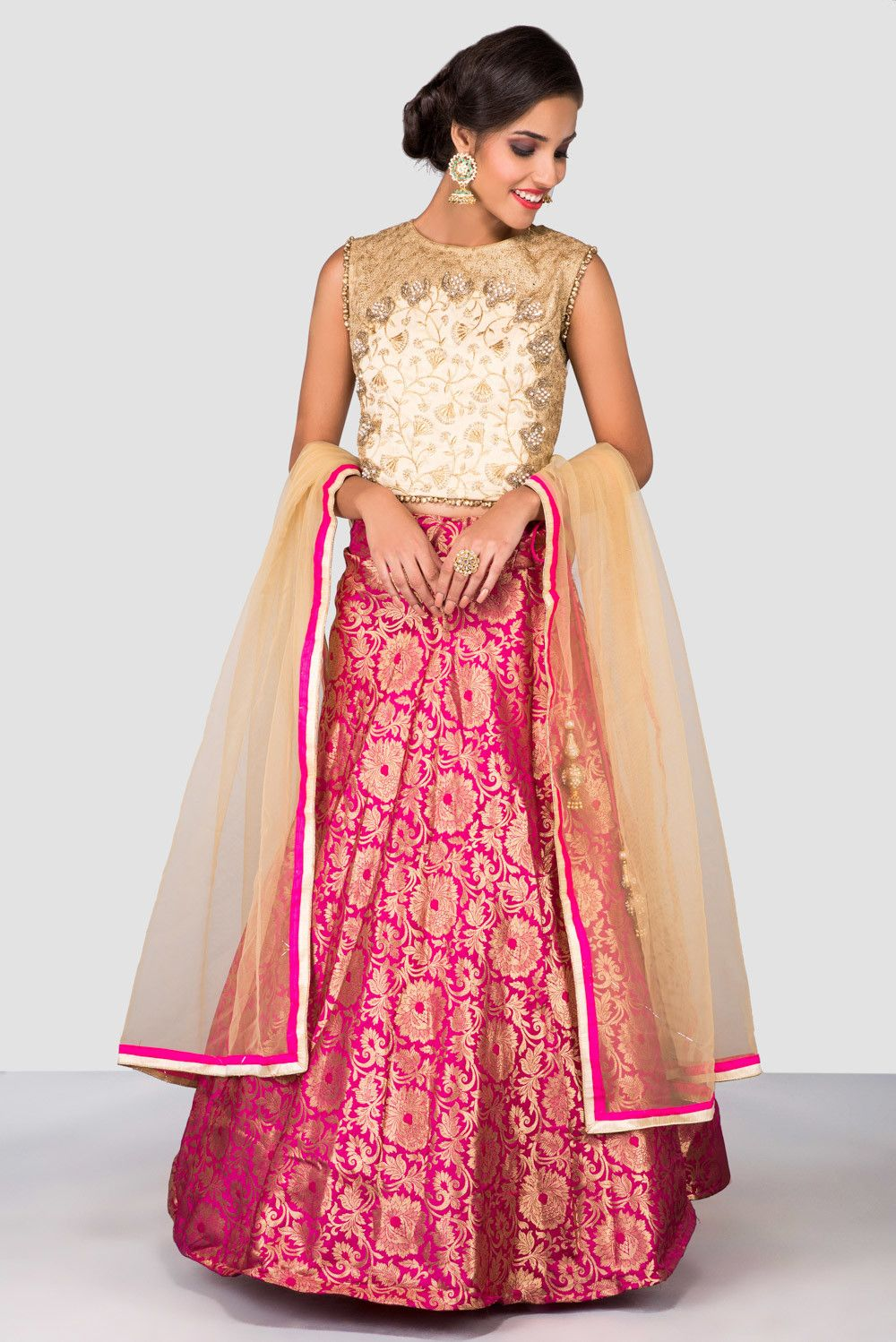 86288973df074 Rent HOUSE OF OMBRE - Ivory And Pink Banarasi Lehenga Set