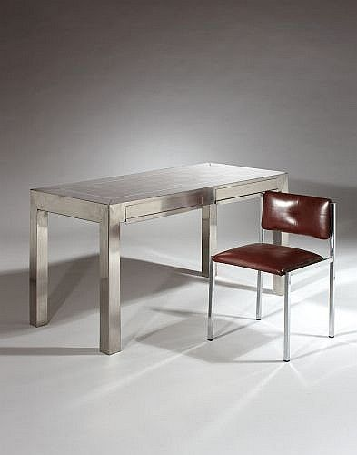 A STAINLESS STEEL DESK BY MARIA PERGAY, CIRCA 1970 Maria Pergay